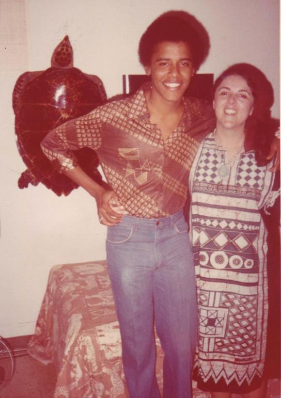 Teenage Barack Obama and his momma