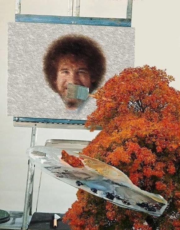 A Happy Tree Painting a Happy Bob Ross