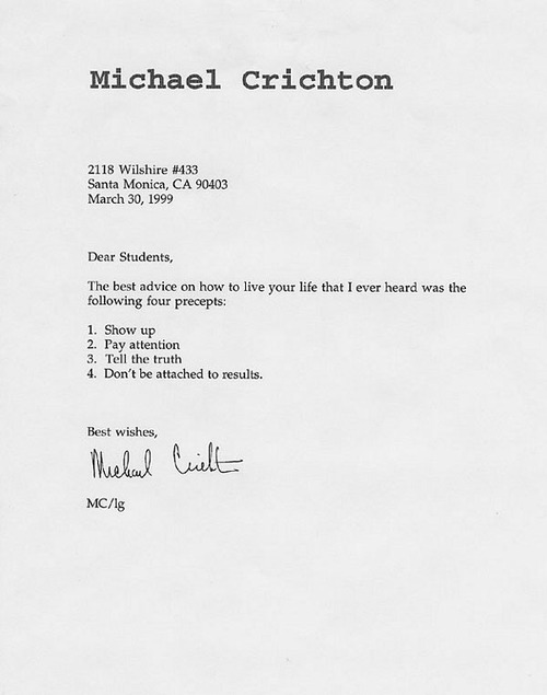 Advice from Michael Crichton