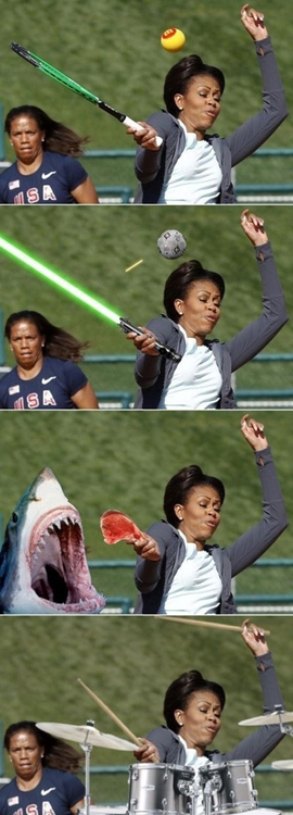 Michelle Obama Playing Tennis