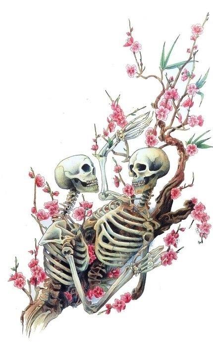 Skeletons in Love Amongst Cherry Blossoms
